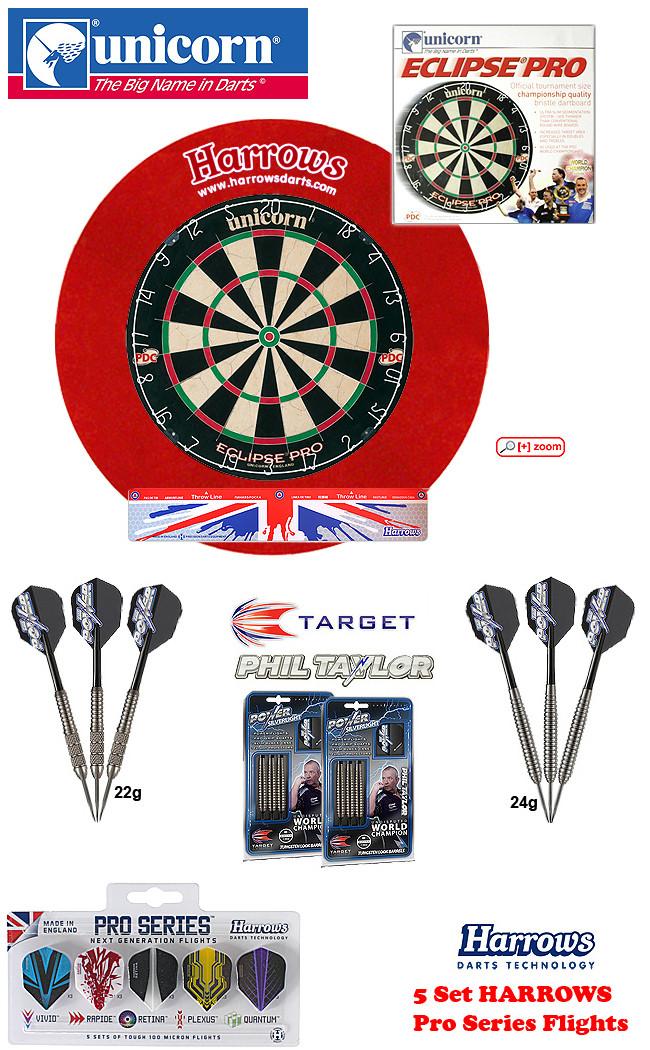 SET Eclipse Pro + H.Surround red + Taylor Darts + Abwurflinie + 5er Set Flights