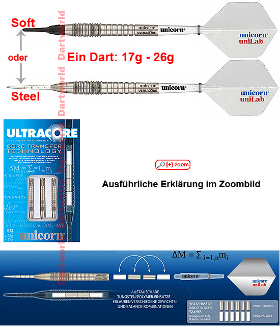 UNICORN Ultracore One Soft/Steel Darts (17g - 26g)