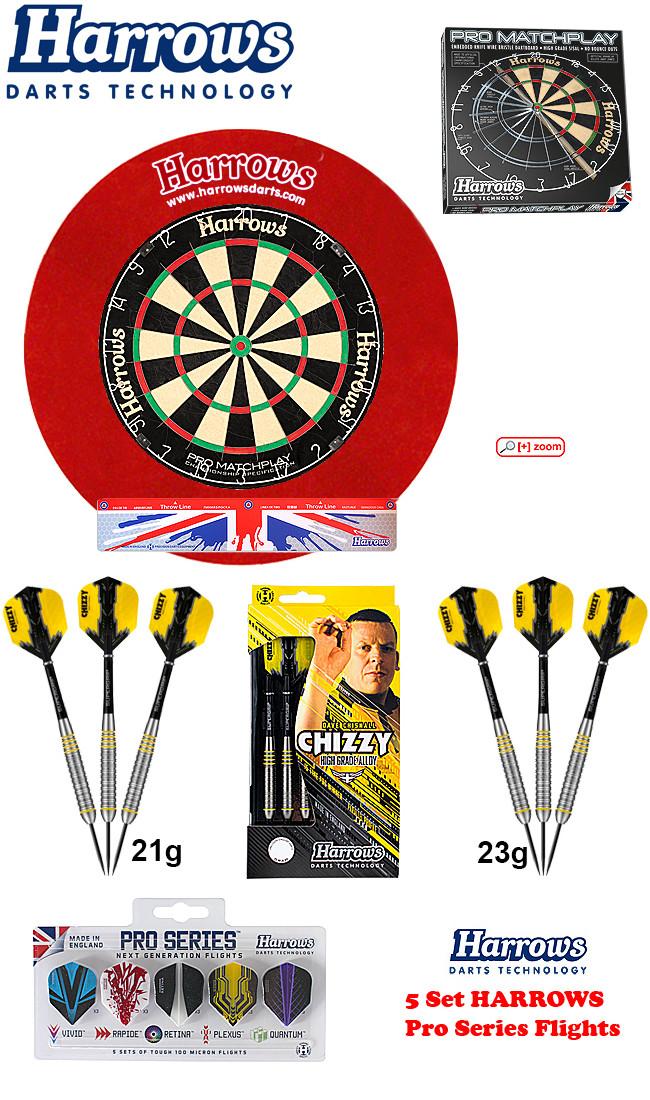 SET HARROWS Matchplay + H. Surround red + 2 Set Chizzy Darts + Abwurflinie + 5er Set Flights
