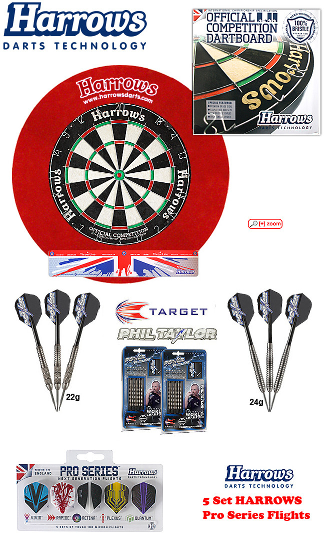 SET HARROWS Ocbb + H. Surround red + 2 Set Phil Taylor Darts + Abwurflinie + 5er Set Flights