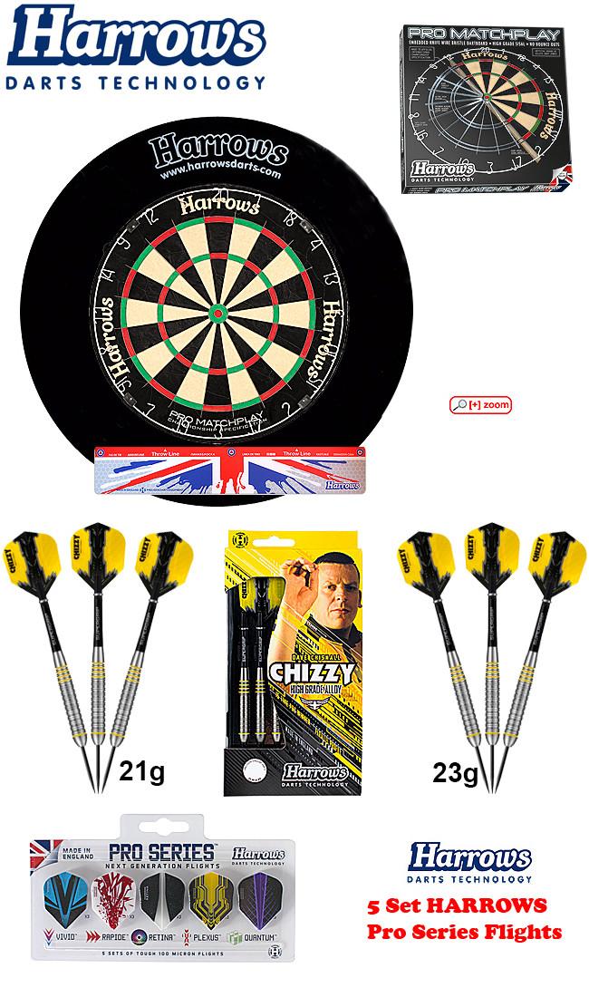 SET HARROWS Matchplay + H. Surround black + 2 Set Chizzy Darts + Abwurflinie + 5er Set Flights
