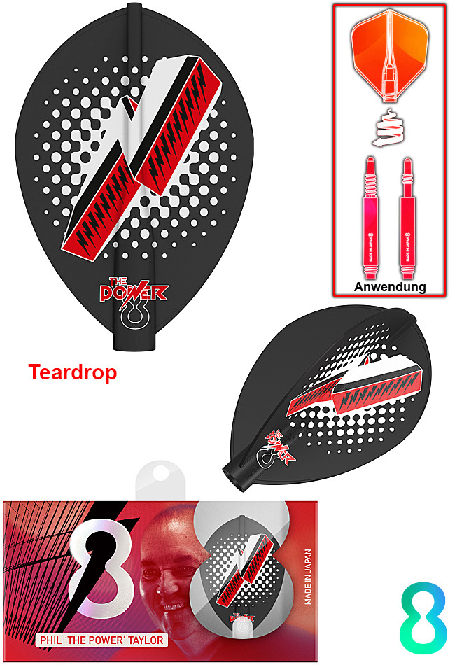 TARGET 8 Flight Phil Taylor Black Print Pear