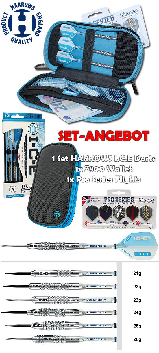 HARROWS SET - I.C.E Darts + Z800 Wallet + Pro Series Flights