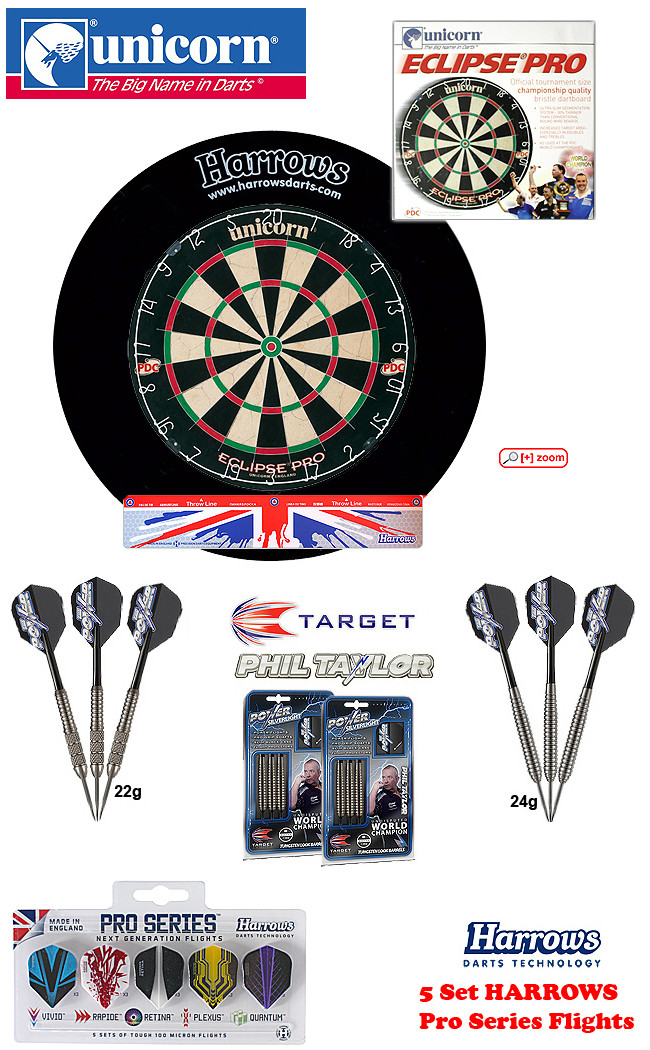 SET Eclipse Pro + H.Surround black + Taylor Darts + Abwurflinie + 5er Set Flights