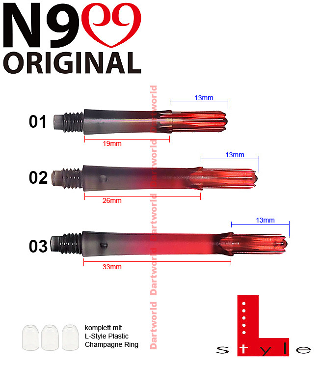 L-STYLE Shafts N9 G. Clear Black/Red