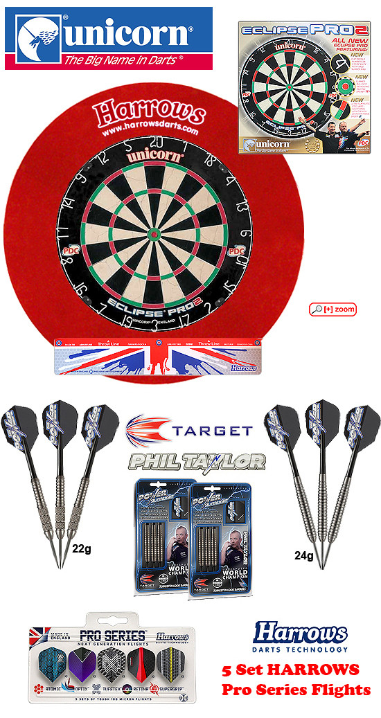 SET Eclipse Pro 2 + H. Surround red + Taylor Darts + Abwurflinie + 5er Set Flights