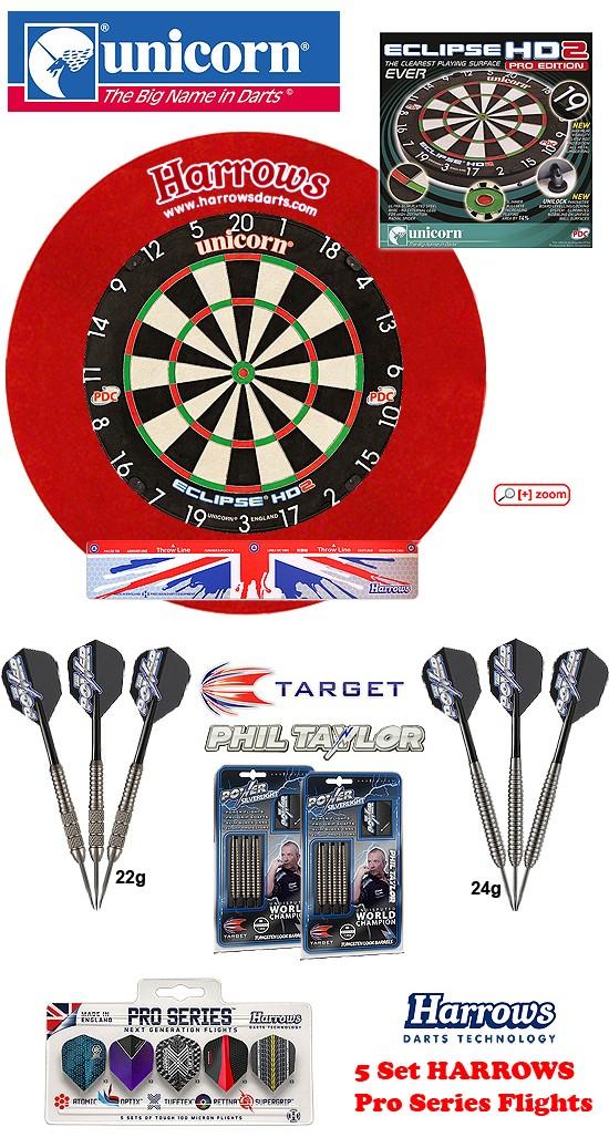 SET Eclipse HD2 Pro + H. Surround red + 2 Set Phil Taylor Darts + Abwurflinie + 5er Set Flights
