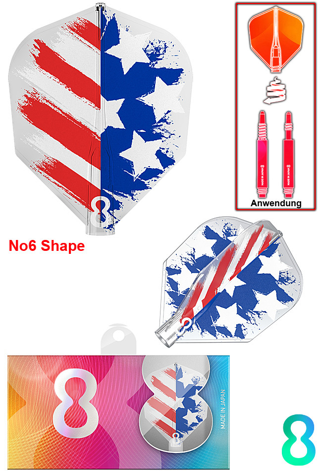 TARGET 8 Flight USA Flag Clear NO6 Shape