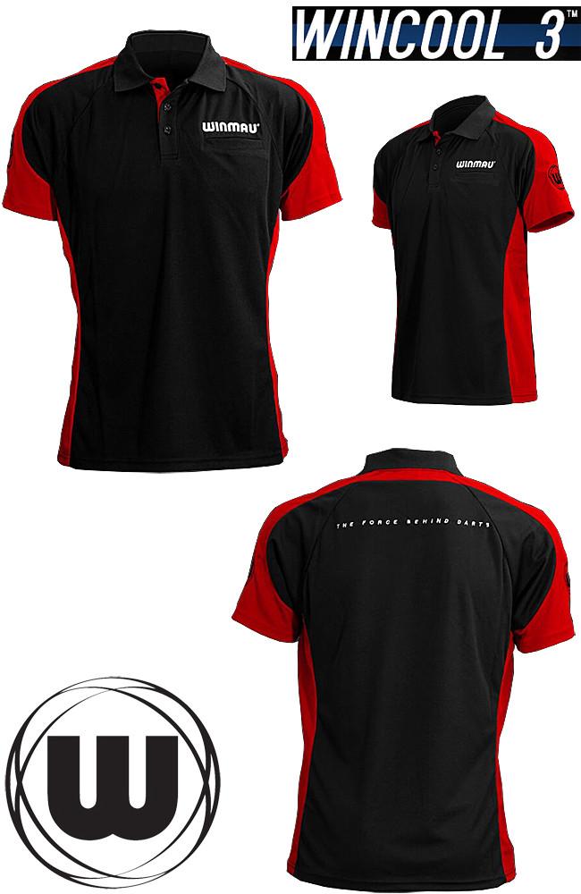 WINMAU Wincool 3 Dart Shirt bullseye red