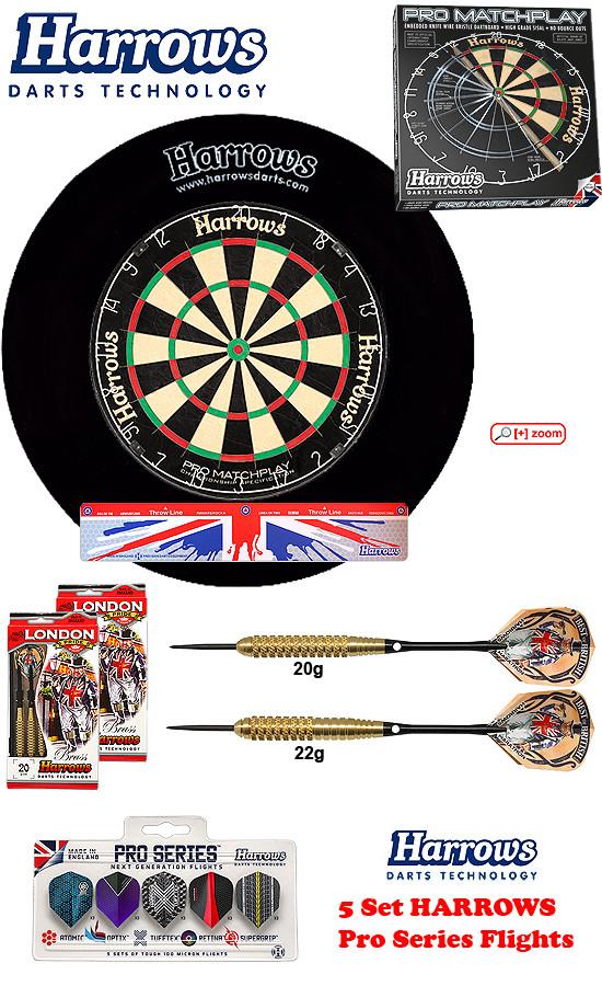 SET Pro Matchplay + H. Surround black + 2 Set London Pride Darts + Abwurflinie + 5er Set Flights