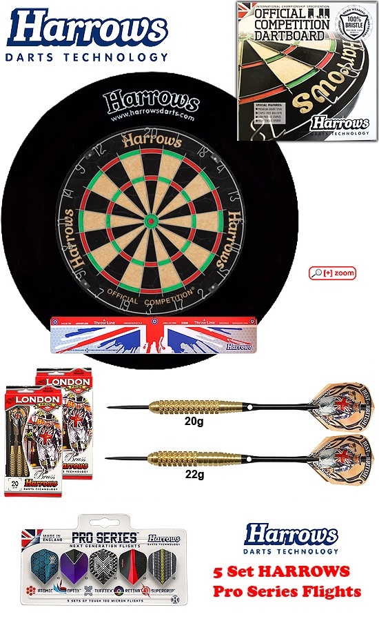 SET Ocbb Board + H. Surround black + 2 Set London Pride Darts + Abwurflinie + 5er Set Flights