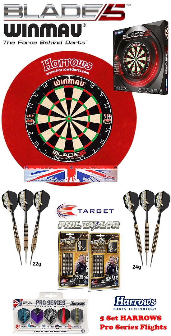 SET Blade 5 + H. Surround red + 2 Set Phil Taylor Darts + Abwurflinie + 5er Set Flights