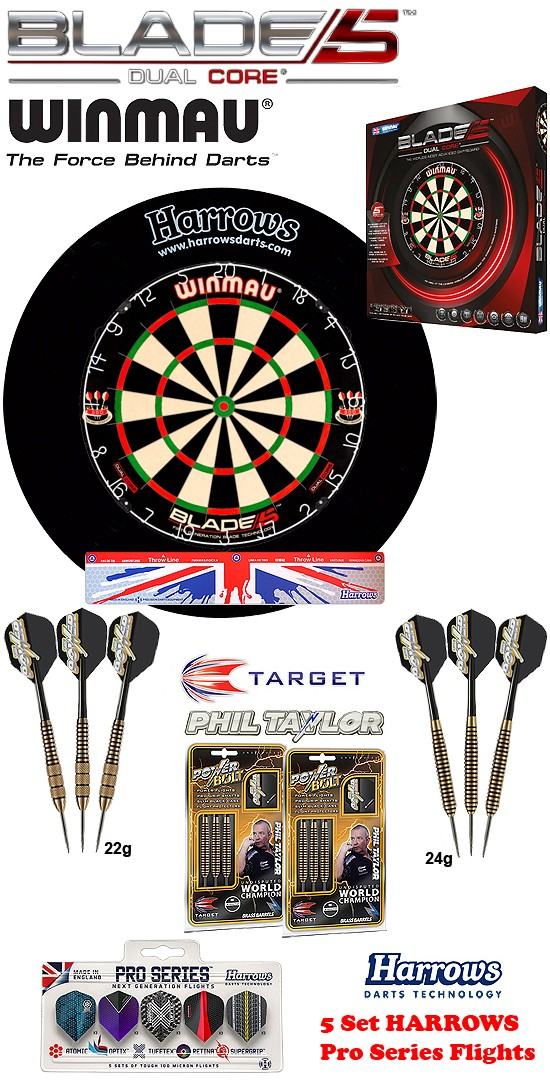 SET Blade 5 Dual Core + H. Surround black + 2 Set Phil Taylor Darts + Abwurflinie + 5er Set Flights