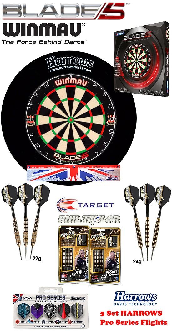SET Blade 5 + H. Surround black + 2 Set Phil Taylor Darts + Abwurflinie + 5er Set Flights