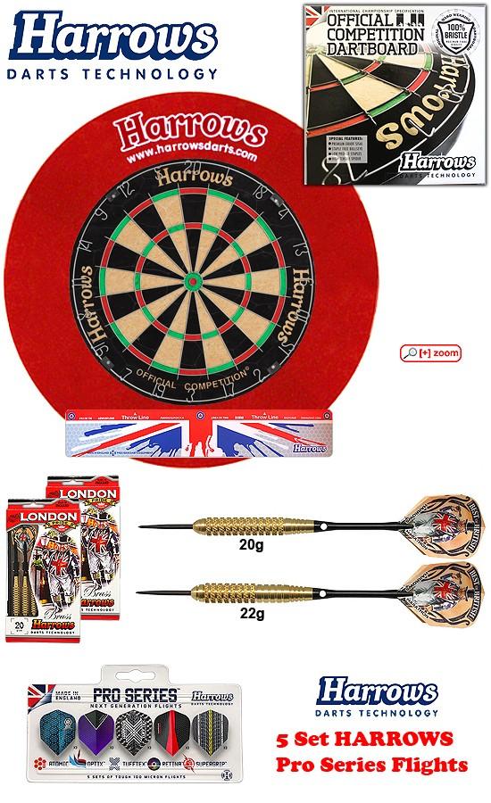 SET Ocbb Board + H. Surround red + 2 Set London Pride Darts + Abwurflinie + 5er Set Flights